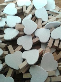 Mini Wooden White Heart Peg ~ Vintage Shabby Chic Wedding name place card