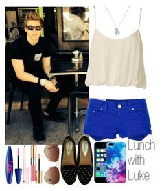 """""""Lunch with Luke"""" by zalix ❤ liked on Polyvore featuring Dondup, Nookie, Maybelline, AERIN, Yves Saint Laurent, Rayban, Berry, sun and lukehemmings"""