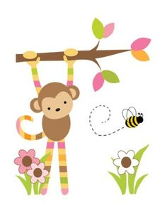 "Mod Monkey Wall Mural for baby girls nursery or kids room decor. Measures 16.5""(41.91cm) Wide and 21.25"" (54.61cm) Tall #decampstudios"