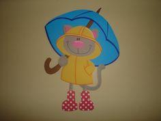 chat parapluie en canson