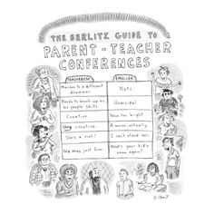 I'm getting ready to go to my first parent teacher conferences at the high school. I couldn't resist sharing this with others. The Berlitz Guide to Parent-Teacher Conferences' - New Yorker Cartoon Premium Giclee Print