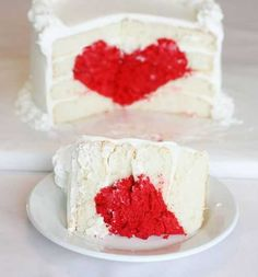 heart cake tutorial #baking #valentine #cake #heart #red #white