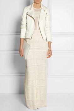 Belstaff|Crewe stretch cotton-blend twill biker jacket|NET-A-PORTER.COM / Dress is gorgeous too. Great idea for a simple maxi.