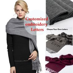 Women Scarf Cashmere Wool Embroidery Personalized Letters Tassel Fashion HQ  #LFS #Scarf #Casual