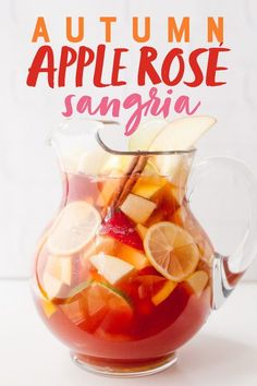 This festive Autumn Apple Rosé Sangria is bubbly, just the right amount of sweet, and perfect for your Thanksgiving or other fall celebrations! Holiday Sangria, Fall Sangria, Rose Sangria, Holiday Drinks, Party Drinks, Cocktail Drinks, Apple Cider Sangria, Fall Cocktails, Sangria Recipes