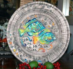 Grand lourd Turc / faïence signé studio pottery Chargeur plaque sinem poisson