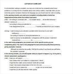 Sample complaint letter sample complaint letter pinterest replacement letter format restaurant and hotel complaint letter templates free sample spiritdancerdesigns Choice Image