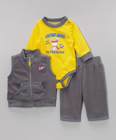 Take+a+look+at+the+Vitamins+Baby+Gray+'Superhero+in+Training'+Bodysuit+Set+-+Infant+on+#zulily+today!