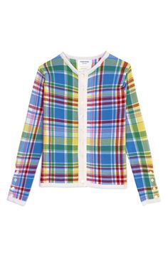 Shop Crewneck Cardigan In Blue Madras Plaid Silk Cashmere by Thom Browne Now Available on Moda Operandi