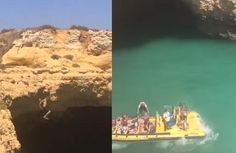Un giovane ragazzo si tuffa dalla roccia ma si ritrova su una barca