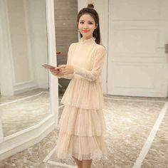 13ccdcfdc044d26 2017 autumn long sleeve long dress black gray beige teenage 14 16 15 years  old Korean
