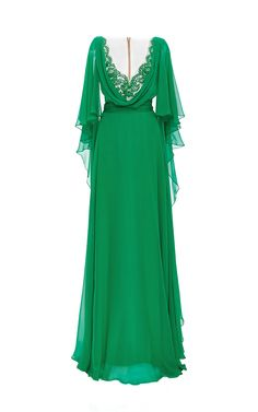 Silk Chiffon Caftan Gown by Reem Acra for Preorder on Moda Operandi