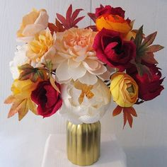 Paper flower arrangement perfect for birthdays and anniversary get fall inspired arrangement paper flowers this piece is arranged with 15 handmade paper flowers foliage mightylinksfo