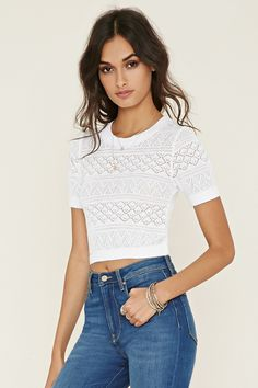 White pointelle knit sweater top for $22.90 at www.forever21.com.  http://www.forever21.com/Mobile/Product/Product.aspx?br=f21&category=new-arrivals&productid=2000152951&curpage=3