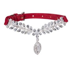 Bling Designer Rhinestone Crystal Soft Suede Pet Collar