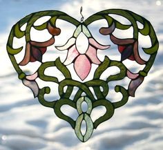 Intricate Art Nouveau Stained Glass Heart #gift #wedding #home decor $85.00  See more at my shop www.etsy.com/shop/galeazglass