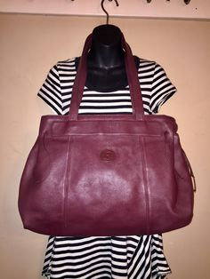 7fc36101bd HUGE ETIENNE AIGNER Vintage Oxblood Leather Tote Bag 20 X 14 X 5 by  COACHCROSSING on