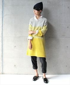 morbido sweater dress yellow grey