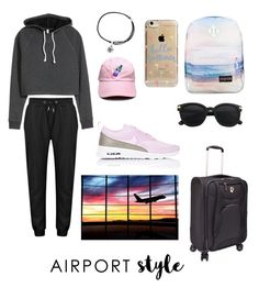 """Airport Style"" by izzyisdun ❤ liked on Polyvore featuring Alex and Ani, Traveler's Choice, JanSport, Agent 18, NIKE, GetTheLook and airportstyle"