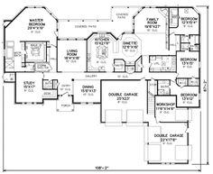 Traditional Style House Plan - 4 Beds Baths 4500 Sq/Ft Plan Love this house except for the garage facing front. House Plans One Story, New House Plans, Dream House Plans, House Floor Plans, My Dream Home, Dream Big, The Plan, How To Plan, Plan Plan