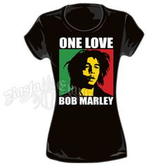 Official Bob Marley Womens Black Fitted T-Shirt Take It Easy