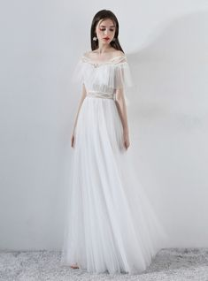 Description White A-line tulle long prom dress, white evening dress Material: lace, tulle Size: US US US US US US 12 US 2 Shoulder to 4 Shoulder to 6 Shoulder to 8 Cheap Prom Dresses Online, Prom Dresses Under 100, Cheap Dresses, Buy Wedding Dress, Long Wedding Dresses, Bridal Dresses, Formal Dresses, White Tulle Dress, Beautiful Prom Dresses