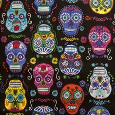 """SUGAR SKULL CANDY /""""DAY OF THE DEAD/"""" RED cotton mix fabric sold//PER METRE//"""