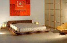 Tatami wooden double bed TOKI By Cinius Futon Mattress, Futon Sofa, Diy Lit, Wooden Double Bed, Tatami Bed, White Futon, Japanese Bedroom, Queen Futon, Futons
