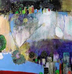 Azul - by Fumiko Toda, mixed media painting on paper on wood panel