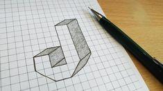 Graph Paper Drawings, Graph Paper Art, 3d Drawings, 3d Letters, Letter J, Paper Art Video, Cos, Illusions, Sketchbook Cover