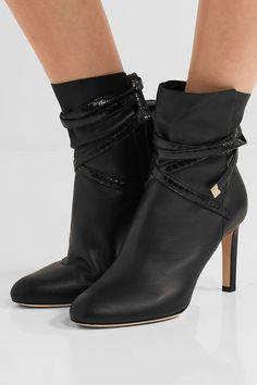 Jimmy Choo | Dalal elaphe-trimmed leather ankle boots | NET-A-PORTER.COM