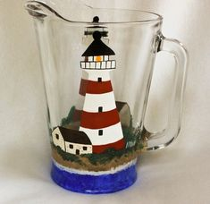 Hand Painted Lighthouse Pitcher by Allthatglass1 on Etsy, $40.00