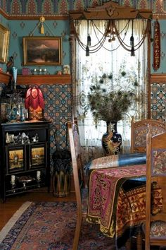 I love this Bohemian interior design and this room is a beautiful part of a bohemian home decor theme. I love the bold colors mixed in with ecletic bohemian wall art and Bohemian decorative accents. A Gallery of Bohemian Bedroom Victorian Interiors, Victorian Decor, Antique Decor, Old Victorian Homes, Victorian Era, Vintage Decor, Gypsy Decor, Boho Decor, Bohemian Decorating
