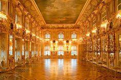 Ballroom at the Grand Palace in Peterhof, west of Saint-Petersburg, Russia