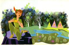 Eyvind Earle's illustrations for the Little Golden Book titled Peter Pan and Wendy