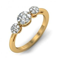 """HATE. Do not like the plain, gold band, or the three """"stones"""" made up of tiny diamonds. Too round."""