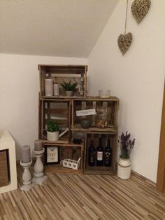 Shelf from wine boxes! DIY :-) - - regal wohnzimmer Shelf from wine boxes! Cageots Vintage, Wine Box Shelves, Living Room Decor, Bedroom Decor, Diy Regal, Diy Box, Wood Boxes, Pallet Furniture, Room Inspiration