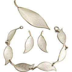 Vintage Signed David Anderson Enamel Sterling Vermeil White Leaves Jewelry Set