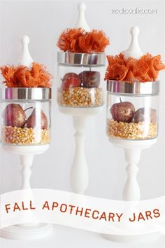 Great idea for more fall decor. I love these DIY apothecary jars. They are so pretty.