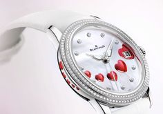 BLANCPAIN SAINT VALENTINE WATCH This Saint Valentine watch is issued in a limited edition, delivered in a white wooden presentation box encrusted with white hearts evoking the dial design. Saint Valentine, Fine Watches, Rolex Watches, Wrist Watches, Swatch, Gold And Silver Watch, Piguet Watch, Hand Watch, Bracelet Watch