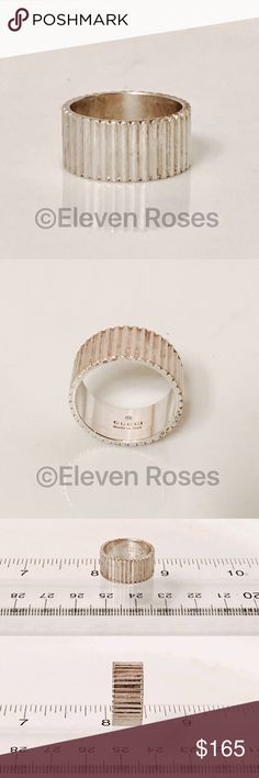 Gucci Sterling Silver Band Ring Gucci Sterling Silver Band Ring - US Size 6 (fits as Size 5.5) - Preowned / Preloved  💕 May Show Slight Signs Of Having Been Worn Gucci Jewelry Rings