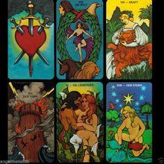 ORIGINAL DEUTSCHES MORGAN GREER TAROT 78 Tarotkarten Kartenlegen 1979