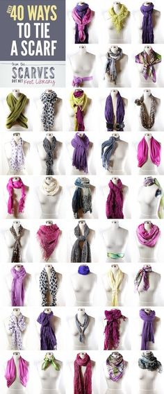 Scarf tying cheat sheet – Let me count the ways! 58 Top Street Style Ideas You Should Own – Scarf tying cheat sheet – Let me count the ways! Ways To Tie Scarves, How To Wear Scarves, Wearing Scarves, Ways To Wear A Scarf, How Tie A Scarf, Tying A Scarf, Fold A Scarf, Summer Scarf Tying, Square Scarf Tying