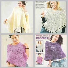 4 Crochet Poncho Pattern Knitted Poncho Knitting Pattern. PDF