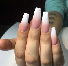 Classy Pink White Ombré Nails Nails In 2019