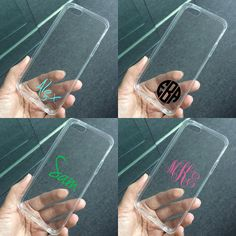 Transparent clear case for iPhone iPhone 6 Plus, iPhone 5 4 case, personalized monogram name custom made plastic case tpu edge · BeanBeanCase · Online Store Powered by Storenvy Iphone 5c Cases, Cute Phone Cases, 5s Cases, Iphone 5s, Iphone 8 Plus, Iphone7 Case, Cool Cases, Coque Iphone, Iphone Accessories