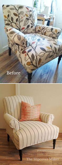 Farmhouse stripe slipcover custom-fit for a home office armchair.