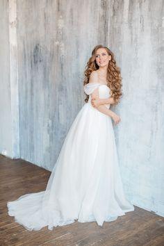 60fedf0d6dd1af6 Свадебное платье | Свадебное платье легкое | Летнее свадебное платье | С  рукавами свадебное платье