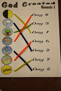 Hands On Bible Teacher: Lesson Plans  Match using pipe cleaners.