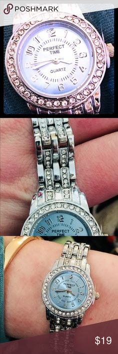 True Quartz Crystal watch w/ baby opalblue face This is a watch that is the perfect amount of elegance & bling to wear everyday ! Works for date night or work at the office! Embellished quartz crystal link chain w/ Blue opalescent face really makes this watch stand out &look truly beautiful. Easy closure clasp for a hassle free put/take off, plus super durable made with impeccable quality. Perfect Time with 3 hands,  &eye catching sparkling true quartz crystal all around the face of the…